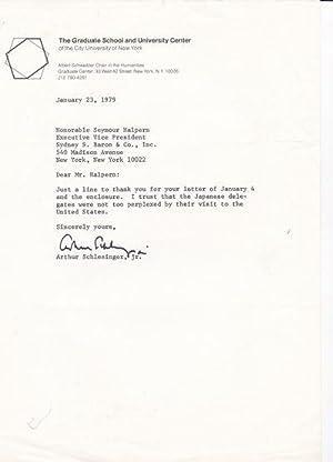 TYPED LETTER SIGNED BY AMERICAN HISTORIAN ARTHUR: Schlesinger, Arthur, Jr.