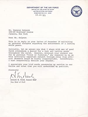 TYPED LETTER SIGNED BY VICE CHIEF OF: Wade, Horace M.