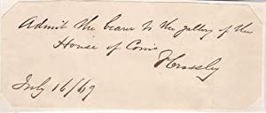 HOUSE OF COMMONS PASS SIGNED BY CARPET: Crossley, Francis. (1817-1872).