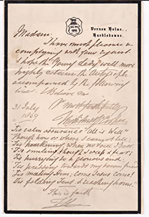 AUTOGRAPH LETTER SIGNED BY ENGLISH ANIMAL AND: Cooper, Thomas Sidney.