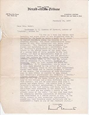 TYPED LETTER ABOUT ROBERT BROWNING'S RACE SIGNED: Gannett, Lewis. (1891-1966).