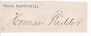 CLOSE OF A LETTER SIGNED BY AMERICAN: Ridder, Herman. (1851-1915).