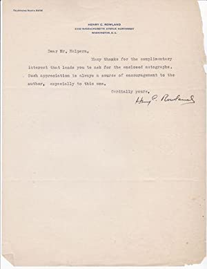 TYPED LETTER SIGNED BY AMERICAN AUTHOR HENRY: Rowland, Henry C.