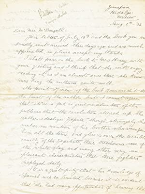 THE MEXICAN REVOLUTION. A 6-PAGE AUTOGRAPH LETTER: Mexican Revolution). Armstrong,