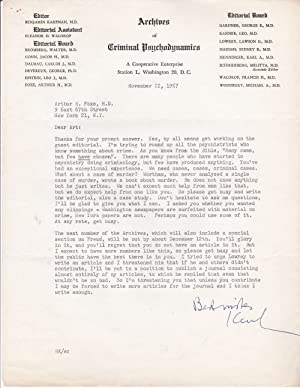 TYPED LETTER WITH EXCELLENT CONTENT INCLUDING AN ATTACK ON FREDRIC WERTHAM SIGNED BY AMERICAN PSY...
