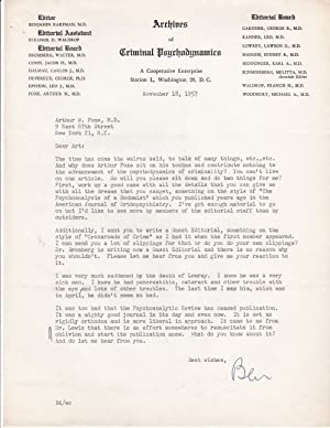 TYPED LETTER TO PSYCHIATRIST AND CRIMINOLOGY EXPERT ARTHUR N. FOXE SIGNED BY PSYCHIATRIST BENJAMI...