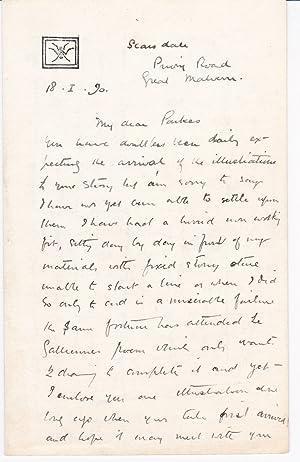 AUTOGRAPH LETTER TO AUTHOR KINETON PARKES SIGNED: Wright, Alan. (1864-1927).