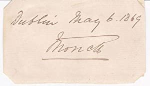 SIGNATURE ON A CARD OF THE FIRST: Monck, Charles, 4th