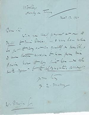 AUTOGRAPH LETTER ABOUT THE ACCOMPANIMENT TO A: Molloy, James Lynam.
