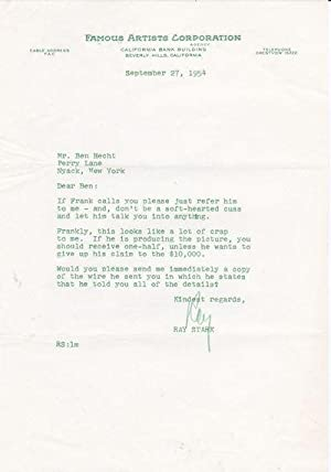 FOUR TYPED LETTERS SIGNED by the Hollywood: Stark, Ray (1915-2004).