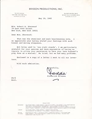 TYPED LETTER TO THE WIDOW OF ROBERT: Brisson, Frederick. (1913-1984).
