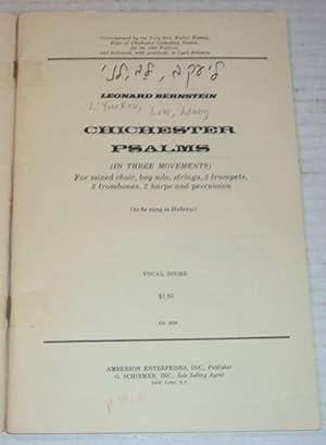 CHICHESTER PSALMS: Vocal Score.: Bernstein, Leonard.
