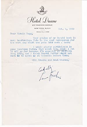 TYPED LETTER TO EDUCATOR HAROLD RUGG SIGNED: Fischer, Louis. (1896-1970).