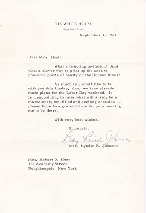 TYPED LETTER SIGNED AS FIRST LADY OF: Johnson, Lady Bird.