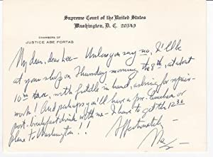 AUTOGRAPH LETTER ON A SUPREME COURT CARD TO THE HEIR TO AND PROPRIETOR OF THE DISTINGUISHED WURLI...