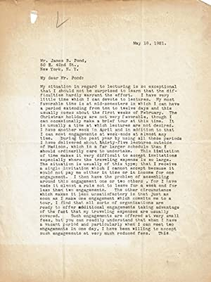 TYPED LETTER SIGNED BY AMERICAN EXPERIMENTAL PSYCHOLOGIST JOSEPH JASTROW.