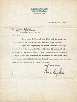 TYPED LETTER SIGNED BY DISTINGUISHED EDUCATOR AND PRESIDENT OF COLUMBIA UNIVERSITY NICHOLAS MURRA...