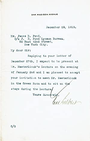 TYPED LETTER SIGNED by the prominent American architect CASS GILBERT, designer of the Woolworth B...