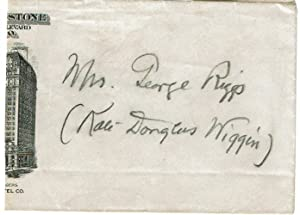 ENVELOPE SIGNED BY AMERICAN EDUCATOR AND CHILDREN'S AUTHOR KATE DOUGLAS WIGGIN WITH BOTH HER MARR...