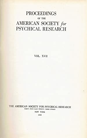 PROCEEDINGS OF THE AMERICAN SOCIETY FOR PSYCHICAL: Prince, Walter Franklin;