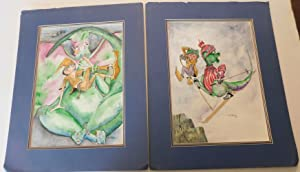 TWO ORIGINAL SIGNED WATERCOLOR PAINTINGS by the Children's book author and illustrator ANN GEDNEY...