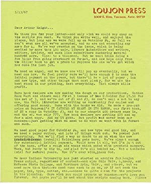 TYPED LETTER SIGNED by JON WEBB, founder, with his wife Louise (Gypsy Lou), of LOUJON PRESS.