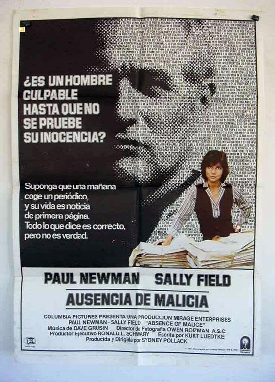 ABSENCE OF MALICE MOVIE POSTER/AUSENCIA DE MALICIA/POSTER
