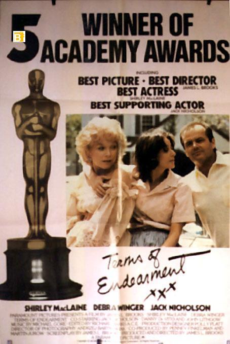 TERMS OF ENDEARMENTS MOVIE POSTER/TERMS OF ENDEARMENT/POSTER TERMS OF ENDEARMENT - 1983, Dir: JAMES L. BROOKS, Cast: SHIRLEY MACLAINE, JACK NICHOLSON, JEFF DANIELS, DEBRA WINGER, JOHN LITHGOW, , , Nac. film: USA