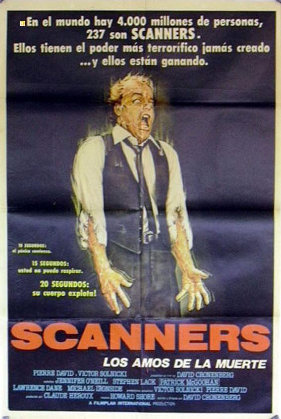 SCANNERS MOVIE POSTER/SCANNERS/POSTER SCANNERS - 1980, Dir: DAVID CRONENBERG, Cast: JENNIFER O'NEILL, STEPHEN LACK, PATRICK McGOOHAN, LAWRENCE DANE, CHARLES SHAMATA, , , Nac. film: CANADA,