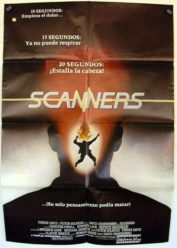 Scanners MOVIE POSTER/SCANNERS/POSTER SCANNERS - 1981, Dir: DAVID CRONENBERG, Cast: JENNIFER O'NEILL, STEPHEN LACK, PATRICK McGOOHAN, LAWRENCE DANE, CHARLES SHAMATA, , , Nac. film: CANADA,