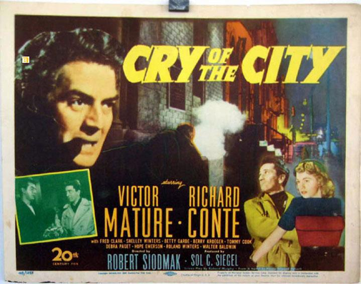 CRY OF THE CITY MOVIE POSTER/CRY OF THE CITY/US LOBBY CARD