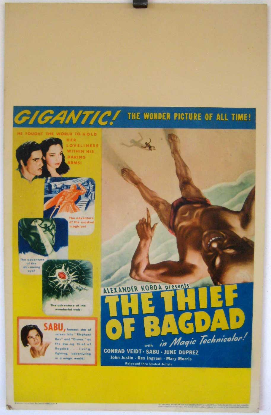THE THIEF OF BAGDAD MOVIE POSTER/THIEF OF BAGDAD, THE/WINDOW CARD