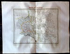 Mapa Calcográfico REINO DE POLONIA Grabado Por: Ramón Alabern. Tardieu