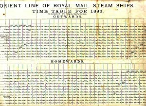 ORIENT LINE OF ROYAL MAIL STEAM SHIPS - Time Table for 1893 & Passenger's Track, Wind and ...