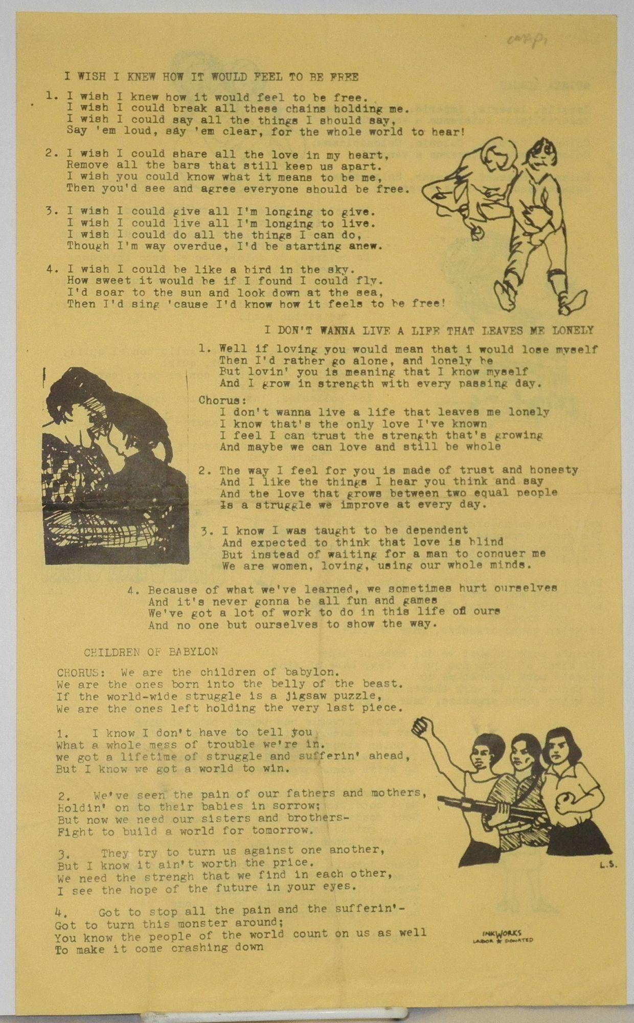Sing-along sheet with lyrics to six feminist