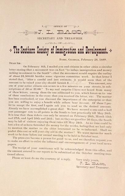 [Fundraising circular]: Bass, J.L.; secretary and treasurer of the Southern Society of Immigration ...