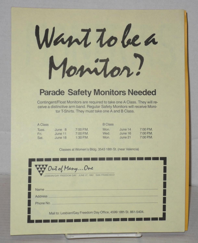 Six safety monitor fliers/handbills for Lesbian/Gay Freedom Day parades 1982-1989 Lesbian/Gay Freedom Day