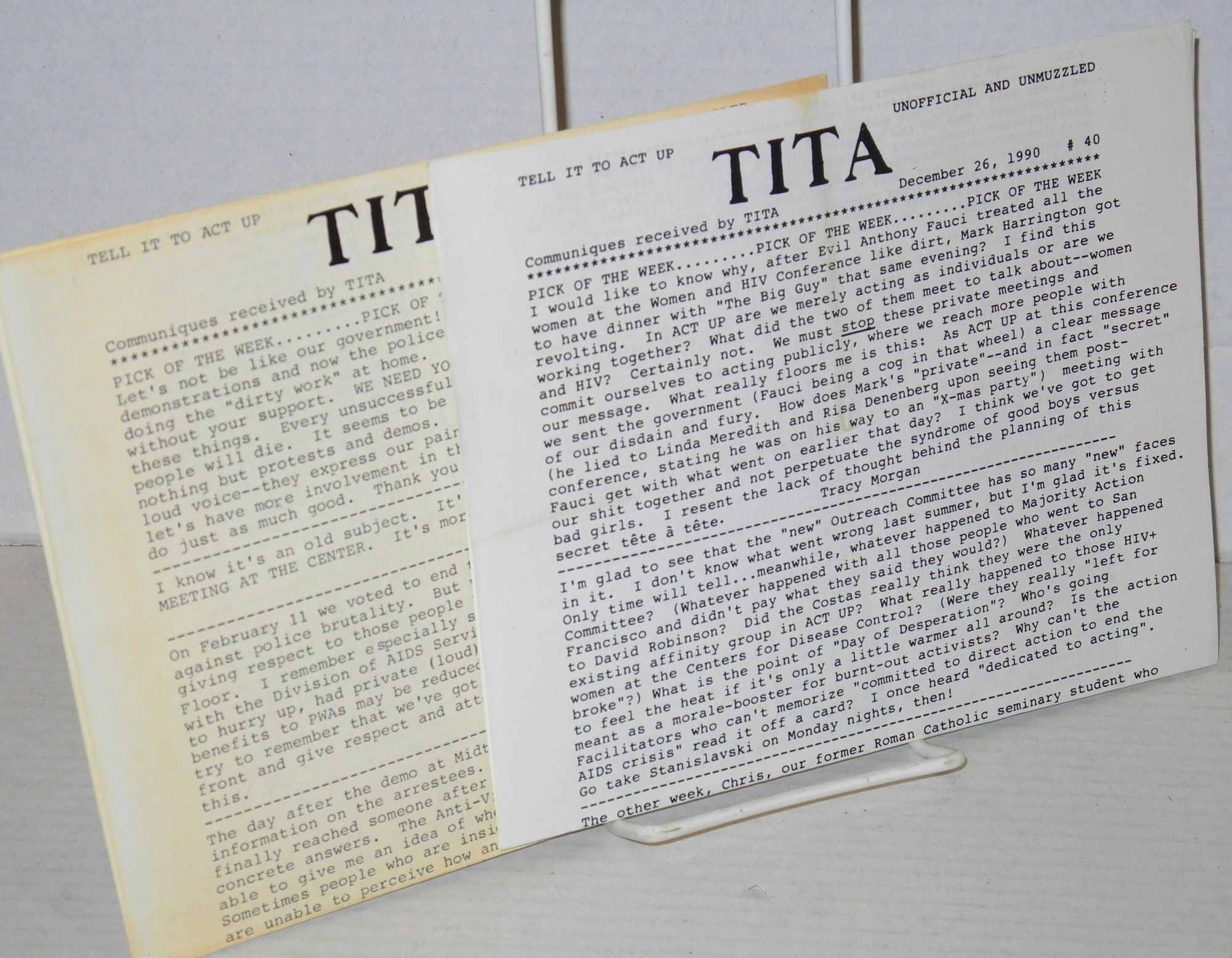TITA: Tell it to ACT UP: unofficial and unmuzzled; communiques received by TITA; #40 & #49, December 26, 1990 & February 25, 1991 [two issues] Dobbs,