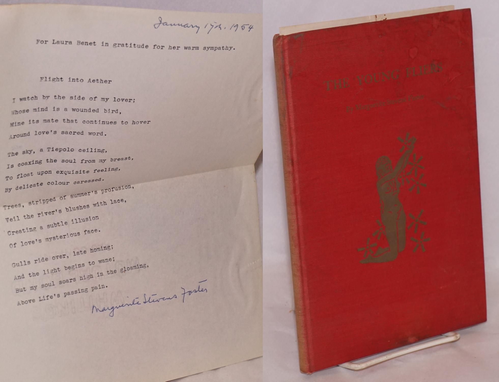 The Young Fliers and other poems inscribed and signed to Laura Benet with original typed poem laid-in Foster, Marguerite Stevens, Laura Benet associa