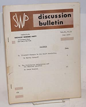 SWP discussion bulletin, vol. 20, no. 11, June 1959: Socialist Workers Party