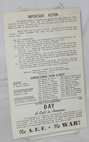 No A.E.F. Day, November 11th, keep out of war. Armistice day rally. Speakers Donavan E. Smucker, ...