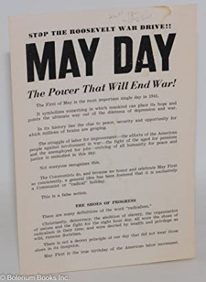 Stop the Roosevelt war drive!! May Day, the power that will end war!: Communist Party of California