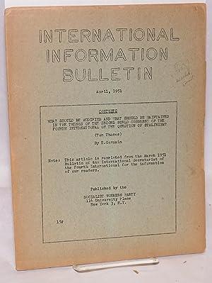 International information bulletin, April, 1951: Mandel, Ernest [as E. Germain]