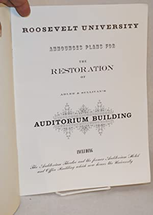 Roosevelt University announces plans for the restoration of Adler and Sullivan's Auditorium ...