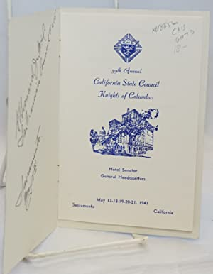 39th Annual California State Council Knights of Columbus; Hotel Senator, General Headquarters, May ...