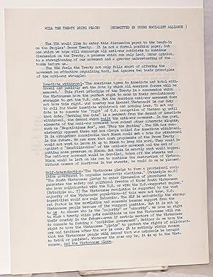 Will the treaty bring peace? [handbill]: Young Socialist Alliance