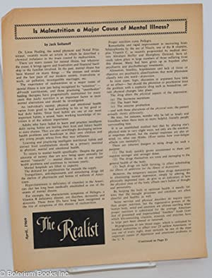 The realist [unnumbered issue] Is Malnutrition a Major Cause of Mental Illness