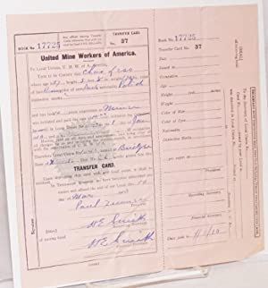 United Mine Workers of America Transfer Card: United Mine Workers of America
