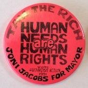 Tax the rich / Human needs are: Joni Jacobs for