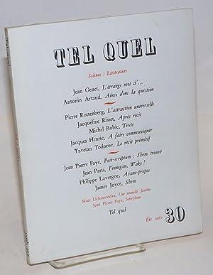 Tel Quel; review litteraire trimestrielle science / litterature; Ete 1967, [no. 30]: Pleynet, ...